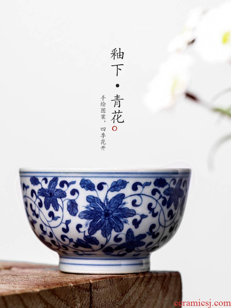 Jingdezhen blue and white master kung fu tea cup of pure manual hand - made ceramic sample tea cup single cup tie up lotus flower tea man
