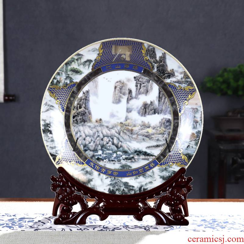 Rat ox zodiac ceramic decoration plate of rich ancient frame of jingdezhen porcelain wine furnishing articles sitting room small handicraft ornament