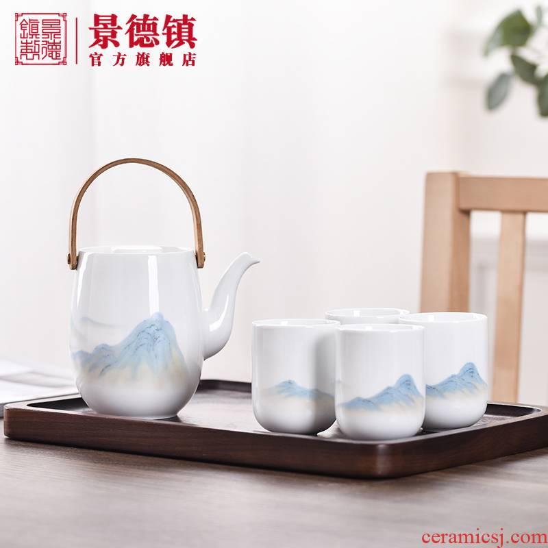 Jingdezhen flagship store manual white porcelain teapot teacup suit Chinese li jiangshan household pot of large capacity to girder
