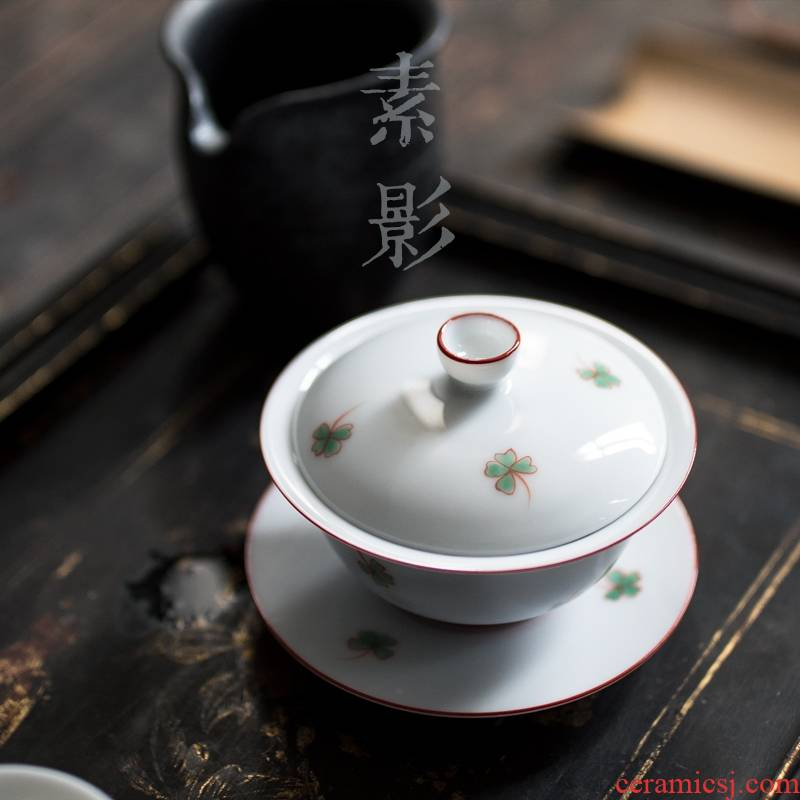Qiao mu blue - and - white tureen ceramic bowl with manual three bowl clovers hand grasp teapot do kung fu tea set
