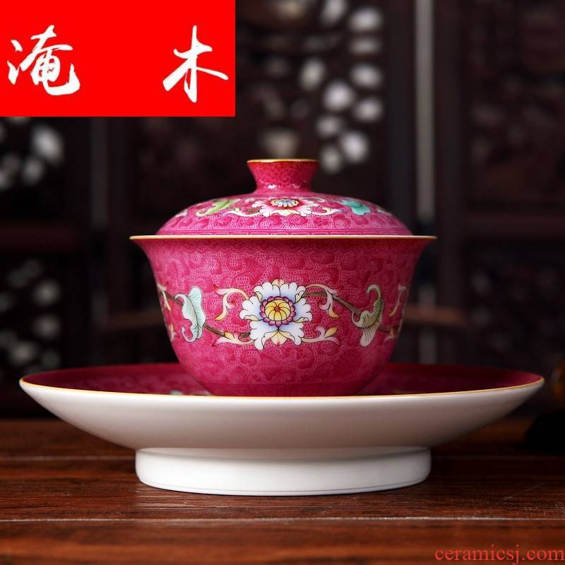 Submerged wood jingdezhen traditional craft ceramics single tureen kung fu tea colored enamel rake flowers with up phnom penh