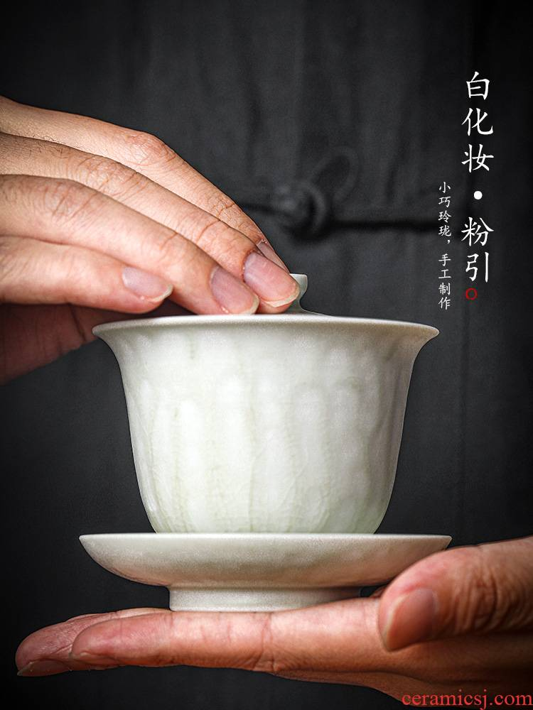Pure manual only three tureen tea cup is not large bowl of jingdezhen kung fu tea powder, ceramic tea device