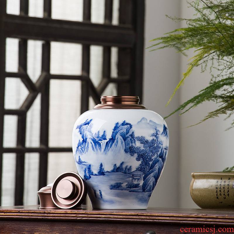 The Poly real view jingdezhen blue and white tea caddy fixings hand - made ceramic alloy cover seal warehouse two large household moistureproof