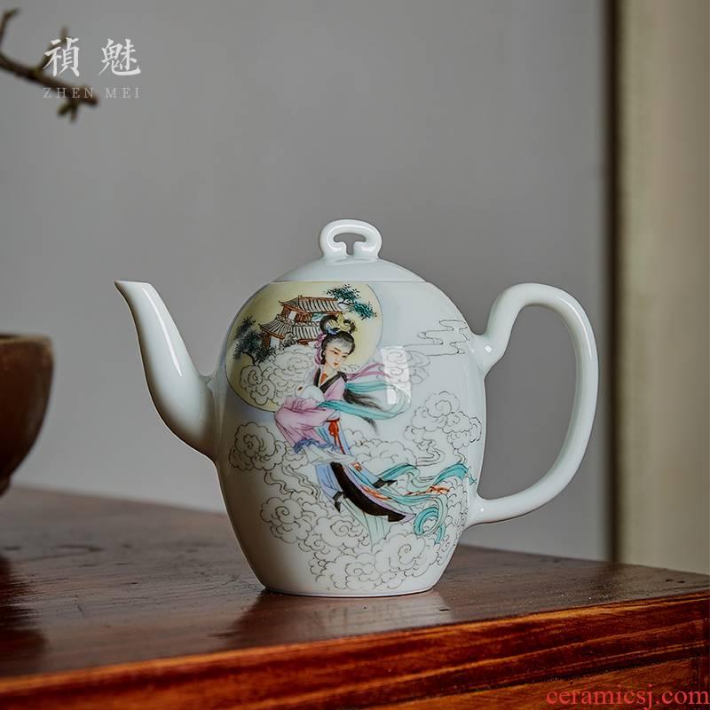 Shot incarnate the jingdezhen ceramic hand - made of chang e beauty teapot kung fu tea set household ball hole filter the teapot