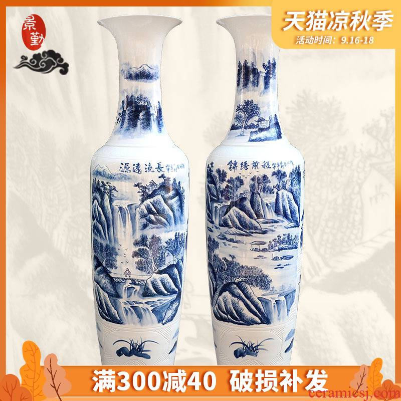 226 jingdezhen porcelain has a long history in the bright future of large blue and white porcelain vase hotel furnishing articles in the living room