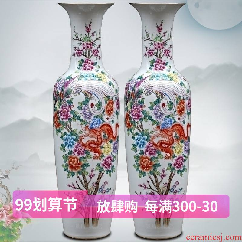 Hand - made in extremely good fortune to the ground flower arranging large vases, jingdezhen ceramic furnishing articles of modern Chinese style household living room decoration