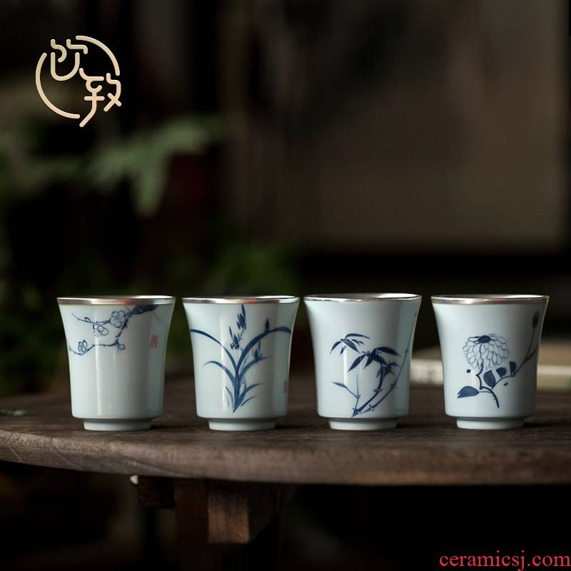 The Sample tea cup ultimately responds tasted silver gilding to blue and white porcelain teacup hand - made kung fu masters cup manual single cup of tea light cup restoring ancient ways