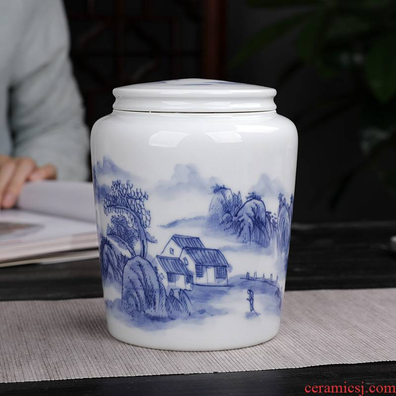 Jingdezhen hand made blue and white porcelain tea pot small straight receives ceramic seal tank storage POTS home half a catty