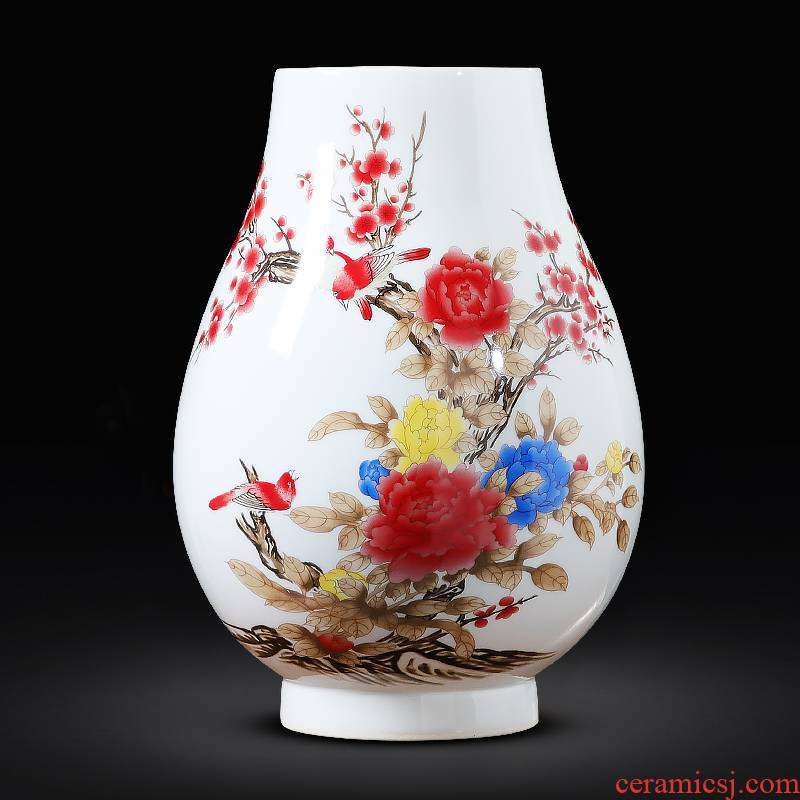 Jingdezhen ceramics powder enamel march furnishing articles Chinese peony vase hydroponic big sitting room adornment handicraft