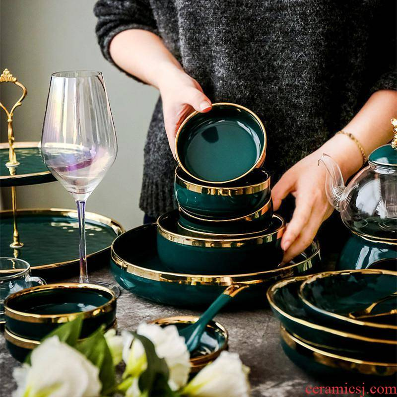 Nordic light green key-2 luxury grandmother up phnom penh dish dish home deep dish dish dish ceramic plate dishes