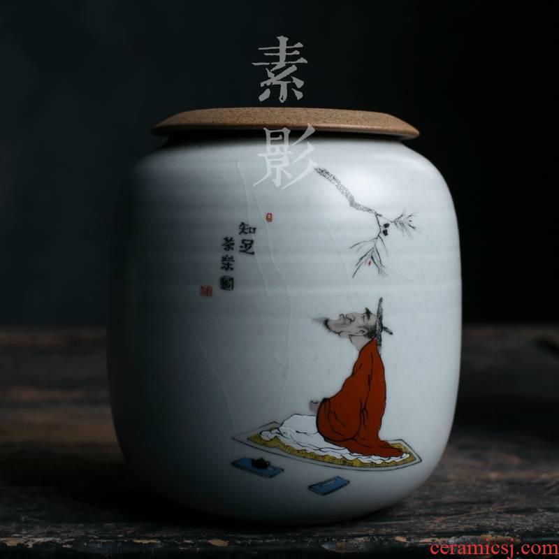 Qiao longed for up open leaf coarse ceramic ice crack seal pot tea by hand moistureproof jar size medium