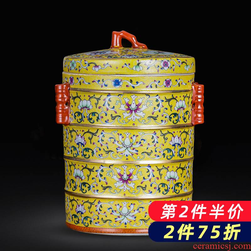 Jingdezhen ceramics tea pot 2 jins colored enamel puer tea cake restoring ancient ways with cover seal storage tank