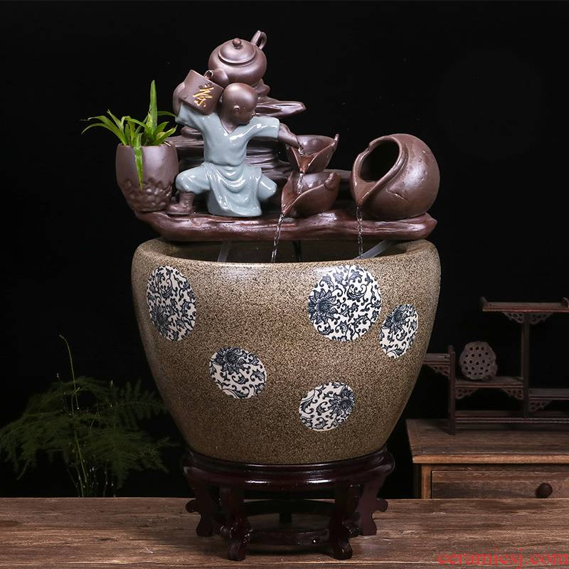Restoring ancient ways of jingdezhen ceramic aquarium home furnishing articles courtyard circular fountain water goldfish bowl shui plutus turtle cylinder
