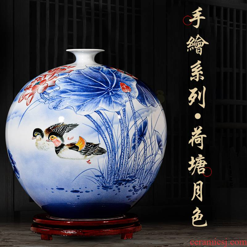 The Master of jingdezhen ceramic hand - made vases yuanyang flower arranging new Chinese style living room home TV ark, handicraft furnishing articles
