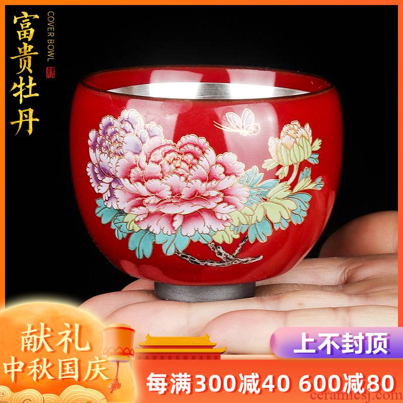 Artisan fairy riches and honor peony tasted silver gilding teacups hand - made ceramic cup sample tea cup cup household pure manual kung fu tea cups