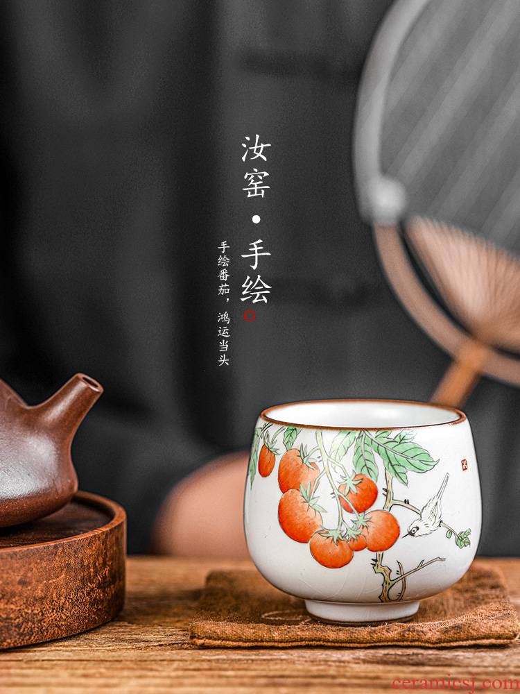 Jingdezhen your up cup masters cup a cup of pure checking sample tea cup single hand - made ceramic kung fu tea set to open