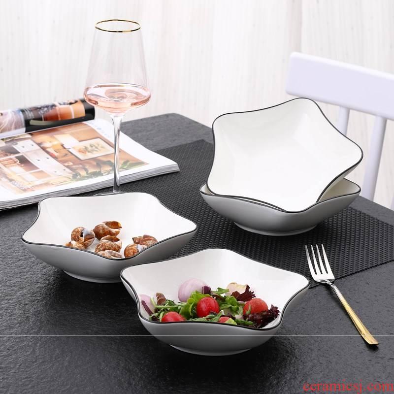 Ceramic plates creative fruit bowl dish dish dish home plate, square, snack plate heart - shaped plate jingdezhen plates