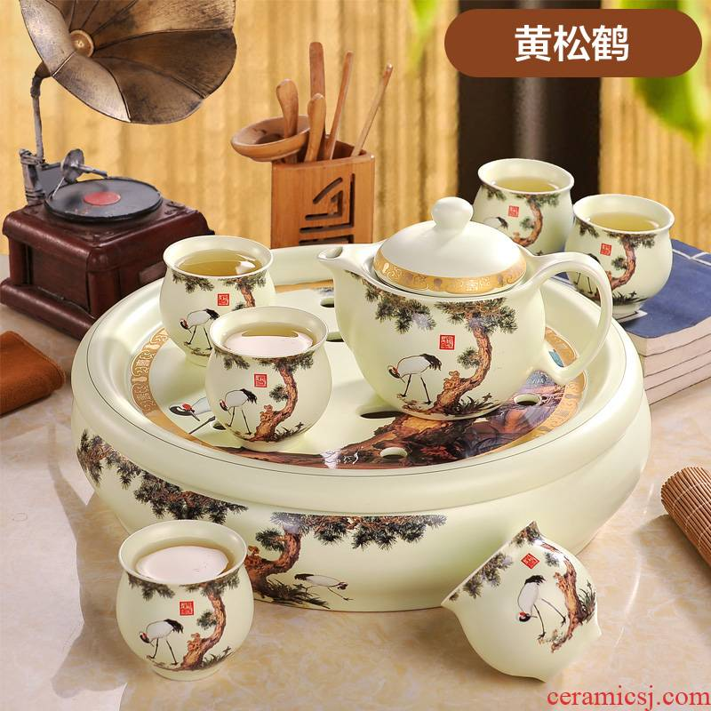 """""""Touch the floor clearance"""" jingdezhen ceramic tea set of a complete set of a suit of household teapot kung fu tea cups tea tray"""
