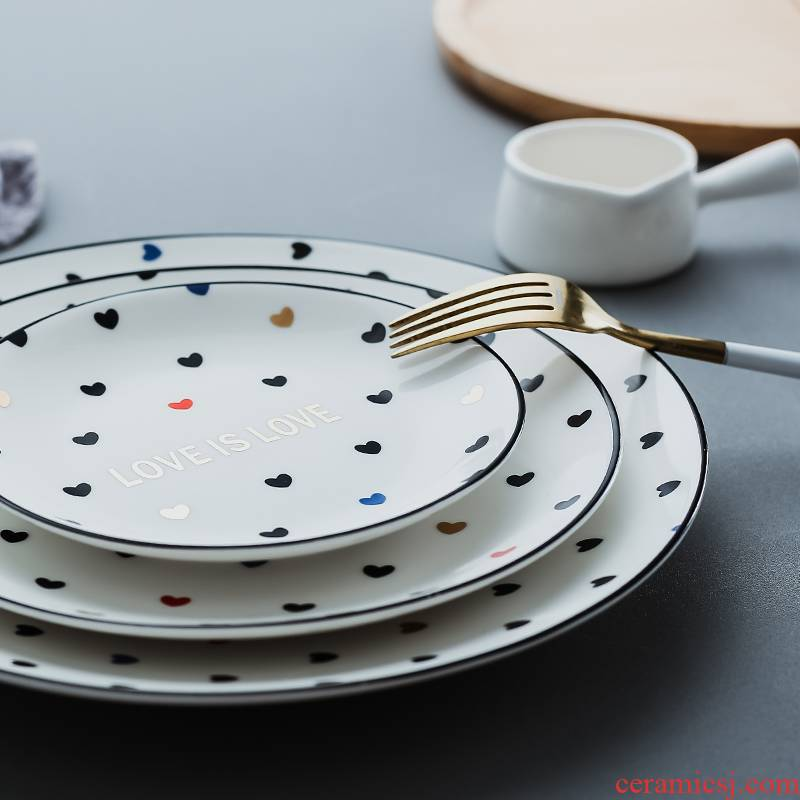 Nordic lovers love shape tableware western breakfast steak plate plate ceramic disc large household individuality creative cuisine