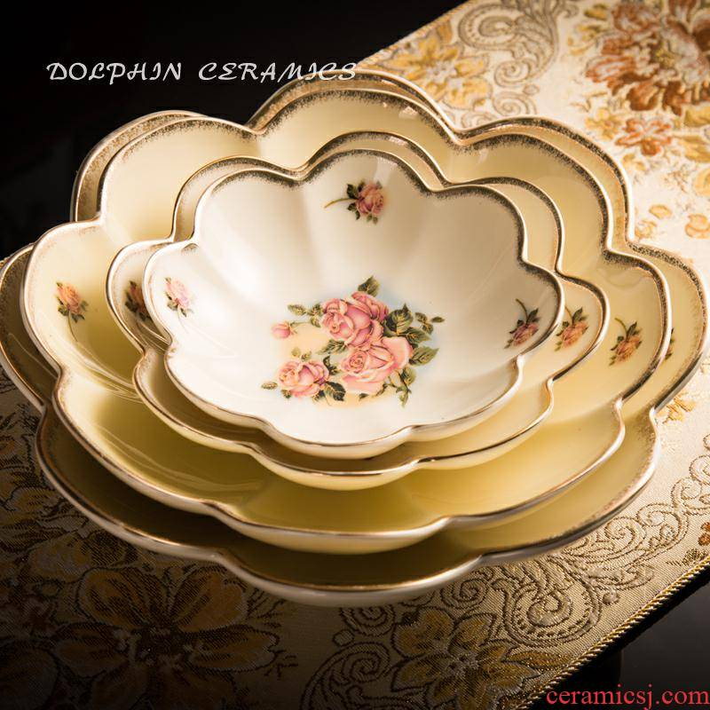 13 k gold plated edge of high - grade ceramic dish dish dish home plate lotus of disk all the Korean queen gold rose