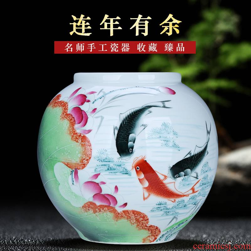 Jingdezhen porcelain lotus more years Chinese checking porcelain vase sitting room desktop flower arranging the study calligraphy and painting cylinder furnishing articles