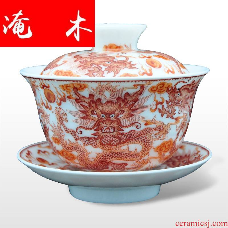 Submerged wood jingdezhen Jin Hongxia famille rose porcelain tea with hand - made tureen three cup bowl Kowloon 】 【
