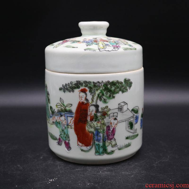 The Qing yongzheng pastel hand - drawn characters cover pot collectables - autograph antique imitation antique collection kitchen furnishing articles gifts