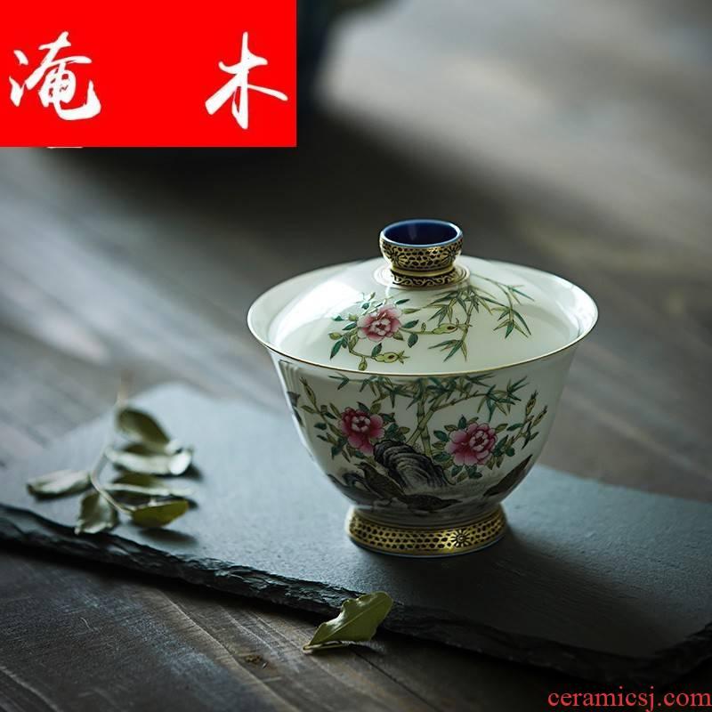 Submerged wood capacity up enamel tureen of jingdezhen ceramics manual colored enamel paint three bowl hand - made tea set
