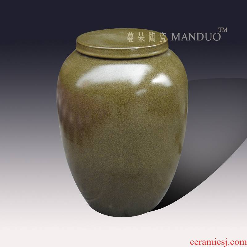 Jingdezhen porcelain ceramic barrel barrel ceramic porcelain tea classic ceramic rice pot flat cover