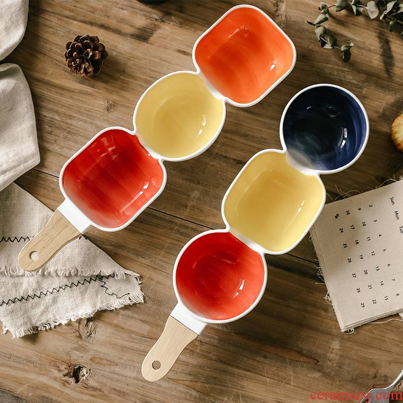 Northern wind household fruit snacks ceramic bowl bowl glaze color creative use points style salad bowl with the bowl