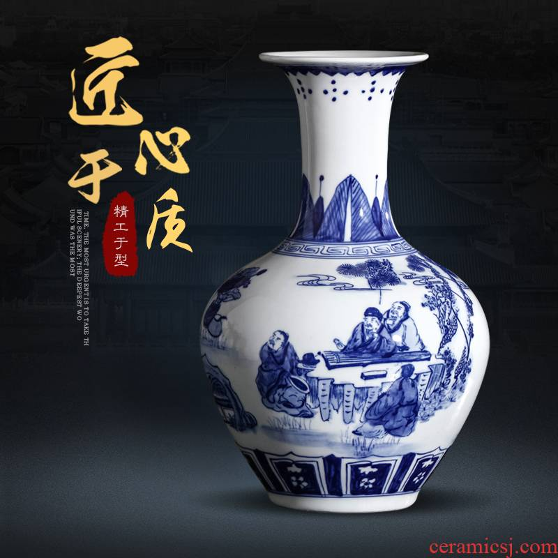 Jingdezhen blue and white porcelain vase furnishing articles archaize sitting room of Chinese style household ceramics rich ancient frame wine accessories