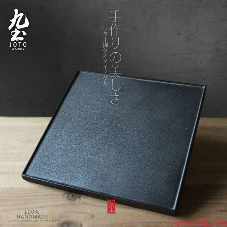 About Nine soil ceramic dry little retro black ground bearing Japanese pot saucer kung fu tea tea sea mini home