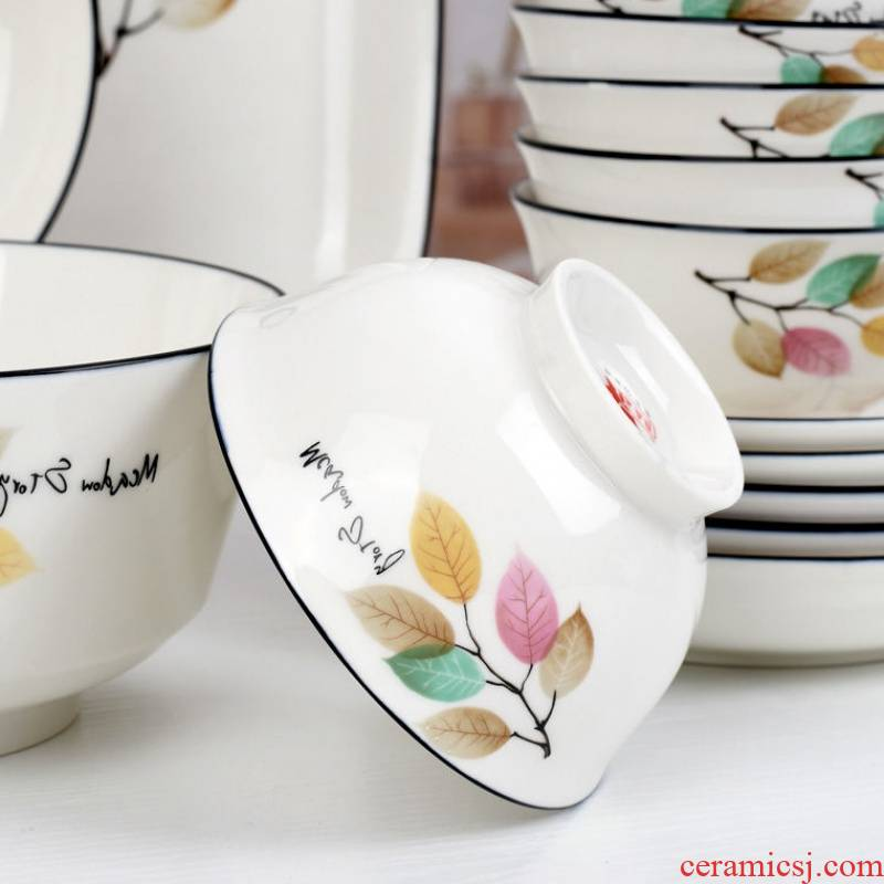 The kitchen of 10 jobs household hot small ceramic bowl fresh Chinese style 4.6 inches for job suits for The tableware