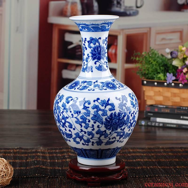 231 jingdezhen ceramic antique blue and white porcelain vases, modern home furnishing articles sitting room adornment handicraft