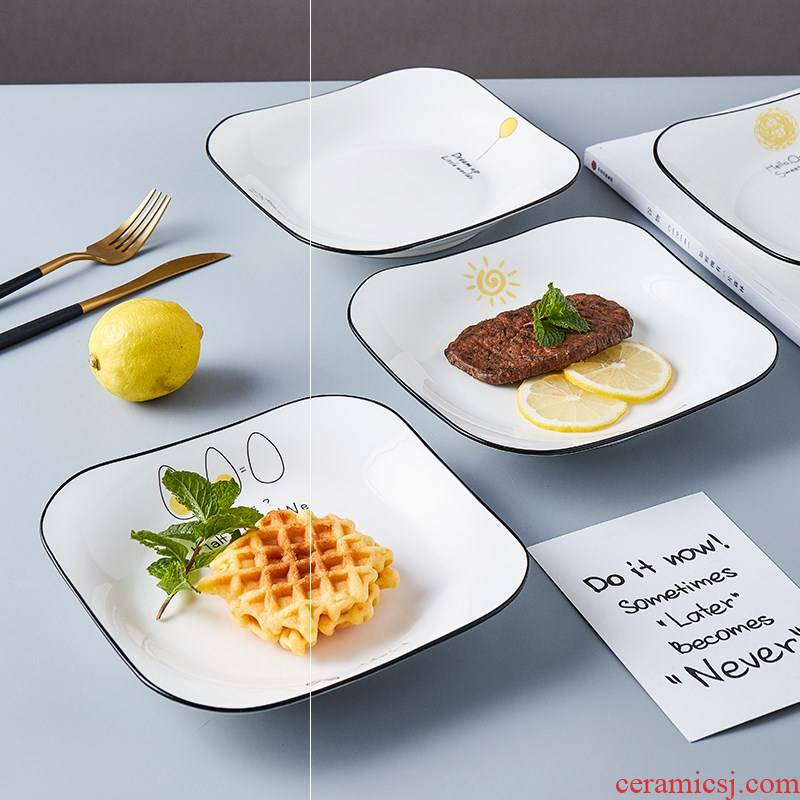4 ins ceramic dish suit creative web celebrity home food dish soup plate plate, square, snack plate tableware for breakfast