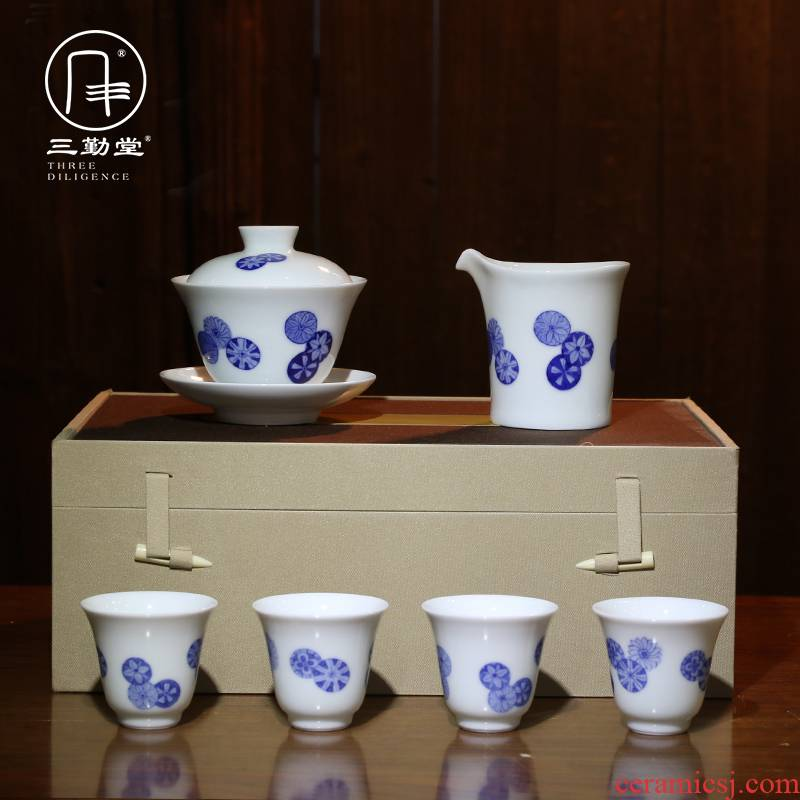 Hand - made porcelain tea set three frequently hall jingdezhen ceramic household gift S13005 tureen the whole trip