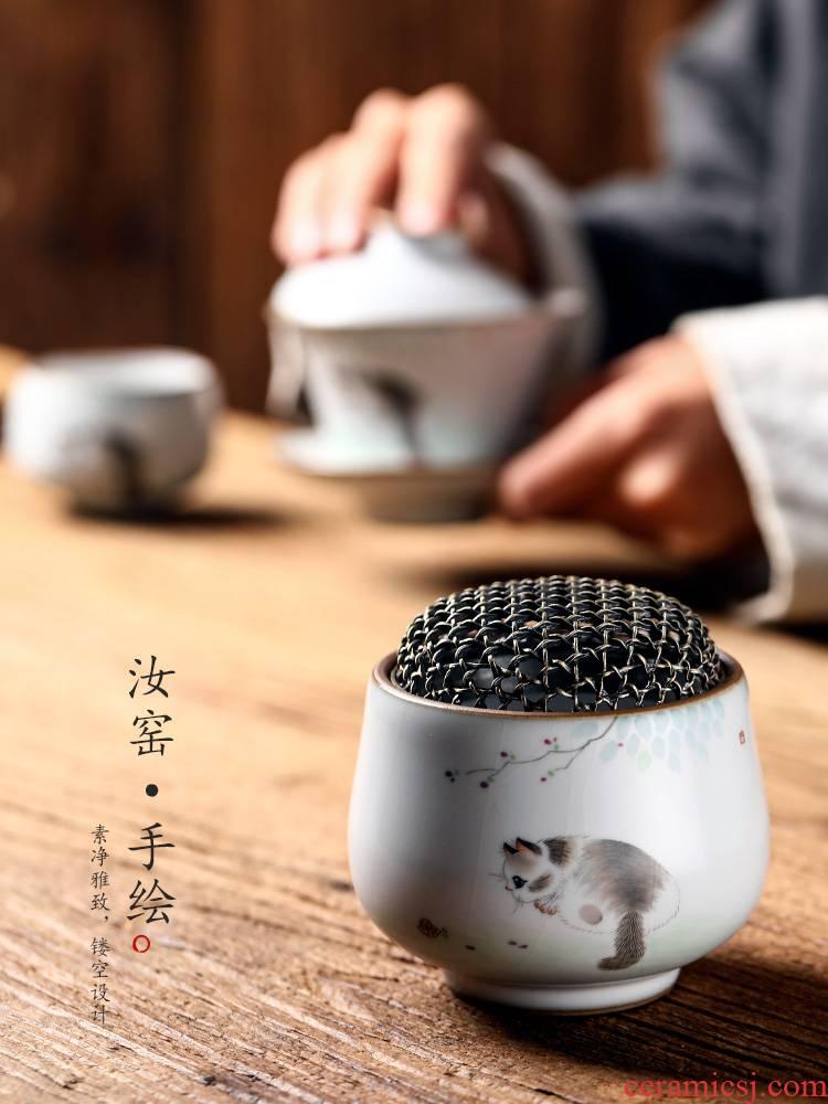 Tea house furnishing articles Chinese incense inserted hand - made present zen Tea jingdezhen ceramic sandalwood Tea your up fume furnace cat