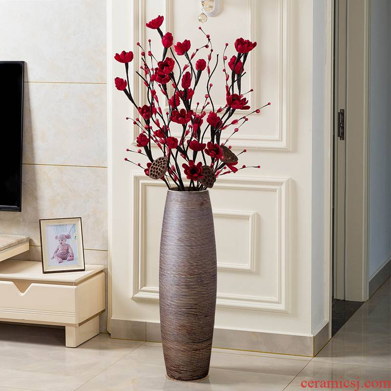 Jingdezhen dried flower vase landing large ceramic decoration I and contracted sitting room place high Europe type restoring ancient ways flower arrangement