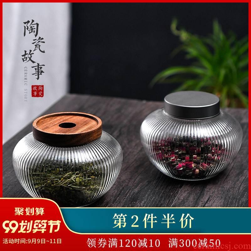 Ceramic story fireflies glass tea seal moisture storage jar jar of portable travel home tea storage tanks