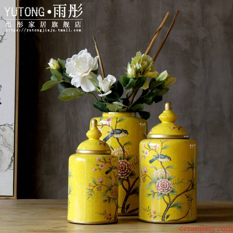 American country process hand - made painting of flowers and ceramic pot furnishing articles furnishing articles home decoration example room