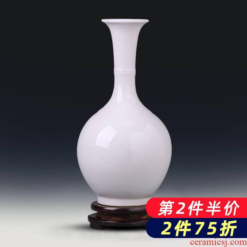 Jingdezhen ceramics glaze color white vase flower arranging furnishing articles of new Chinese style household adornment porcelain child sitting room