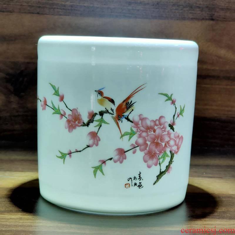 Jingdezhen porcelain brush pot study stationery large brush pot promotional price point peach blossom put water brush pot
