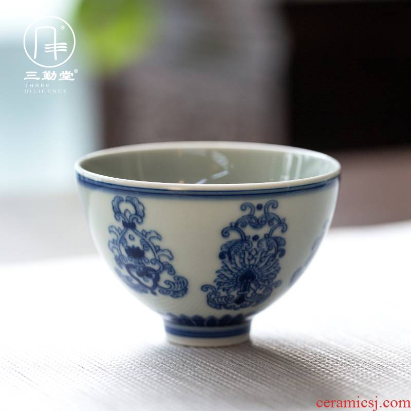 Three frequently hall blue cup tie up branch lotus antique hand cups of jingdezhen blue and white pressure master single cup large tea cup