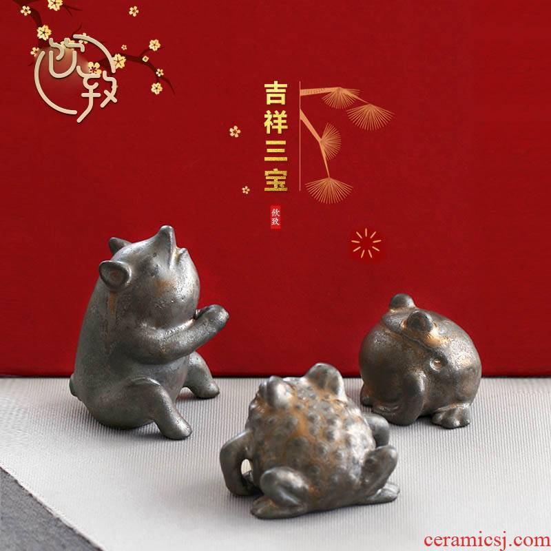 Ultimately responds to gold pet pig spittor coarse after getting tea to keep manual tea accessories play in zen tea furnishing articles