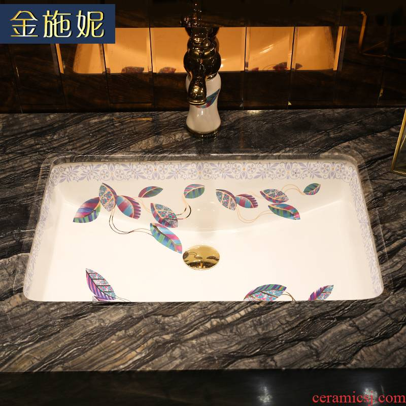 Colorful leaves undercounter embedded sinks lavabo household ceramic square basin integrated basin basin
