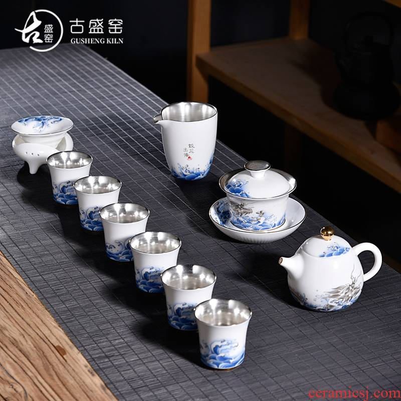 Ancient sheng sea coppering. As silver ceramic up of blue and white dragon suit kung fu tea set silver home tea tureen tea pot