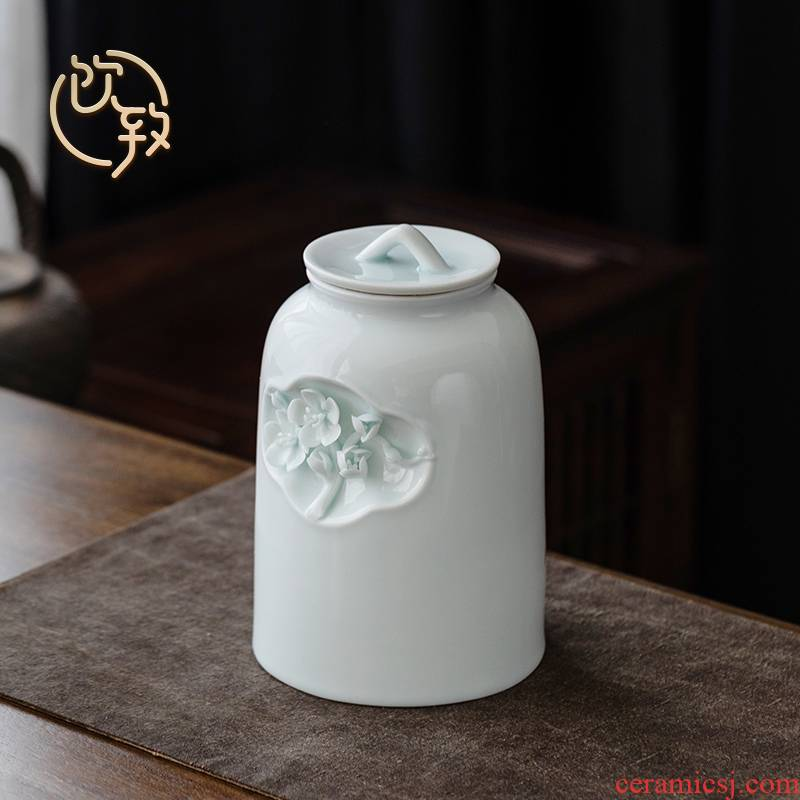 Ultimately responds to bluish white porcelain flower tea pot ceramic seal pot large household tea goods storage tanks