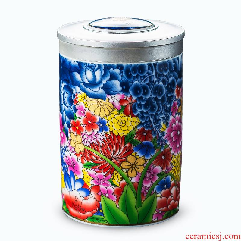 Shadow enjoy colored enamel mini household pu - erh tea caddy fixings tea accessories storage tanks ceramic small seal pot of tea