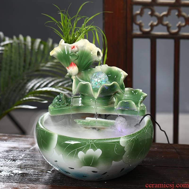 Jingdezhen ceramic aquarium water furnishing articles sitting room aquarium desktop fountain landscape bonsai plutus transport office