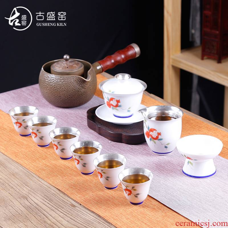 The ancient sheng up coppering. As silver tea set hand - made kung fu tea cup lid bowl of a complete set of blue and white porcelain is jingdezhen ceramics